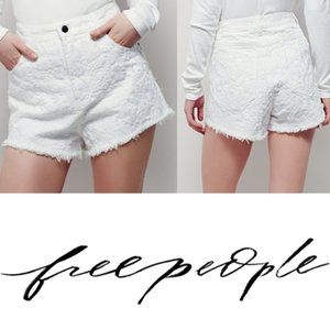 Free People White Etienne Field Cutoff Shorts 25